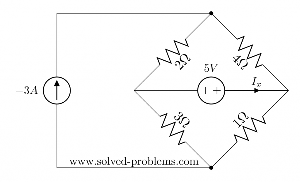 superposition method - circuit with two sources