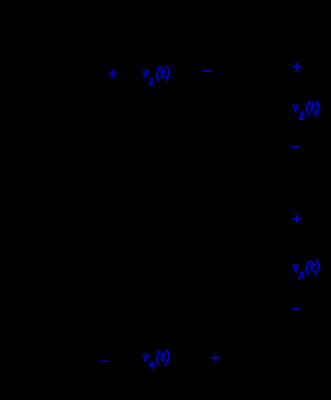 Voltage division among four resistors