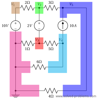 Nodal Analysis 6 Node Circuit - Node Voltages